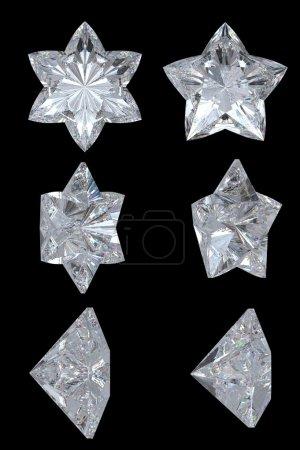 Photo pour Étoiles de diamant cinq branches, de six points. vues de haut, bas et latéraux. plus de noir. résolution extralarge. autres pierres précieuses sont dans mon portefeuille. - image libre de droit