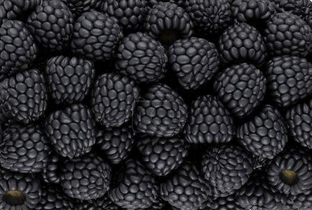 Photo pour Blackberry noir texture ou arrière-plan. CG rendu - image libre de droit