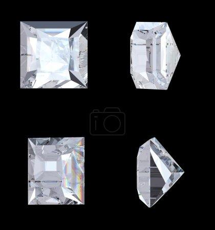 Photo pour Vues de haut, bas et latéraux du diamant princesse. plus de noir. résolution extralarge. autres pierres précieuses sont dans mon portefeuille. - image libre de droit