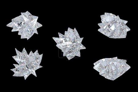 Photo pour Vues de haut, bas et latéraux du diamant de maple leaf. au cours de la résolution noire, extralarge. autres pierres précieuses sont dans mon portefeuille. - image libre de droit