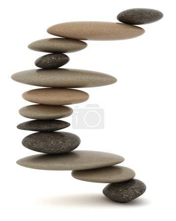 Photo pour Stabilité et zen. résolution extralarge. tour de Pierre équilibrée sur blanc - image libre de droit