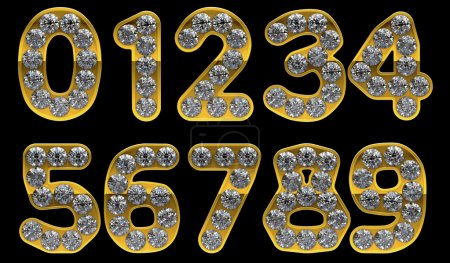 Golden 0 - 9 numerals incrusted with diamonds