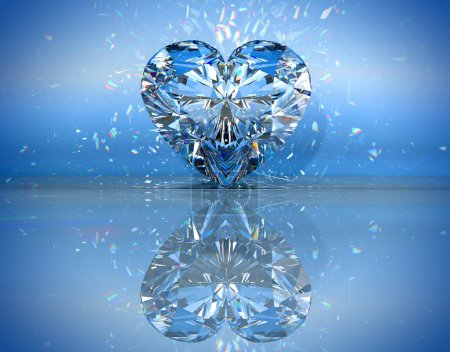 Photo for Heart shaped diamond over blue with reflection. Extralarge resolution. Other gems are in my portfolio. - Royalty Free Image