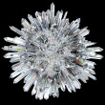 Crystal sphere with acute columns over black backg...
