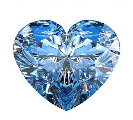 Photo pour Diamant isolé sur blanc en forme de coeur. grande résolution. autres pierres précieuses sont dans mon portefeuille. - image libre de droit