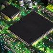 Closeup of electronic circuit board with processor...