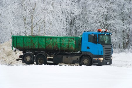 Truck on winter road