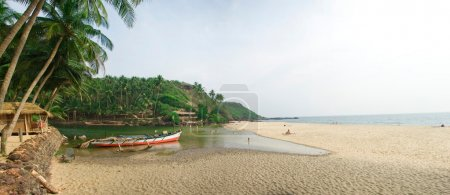 Goa's beach with river and sea
