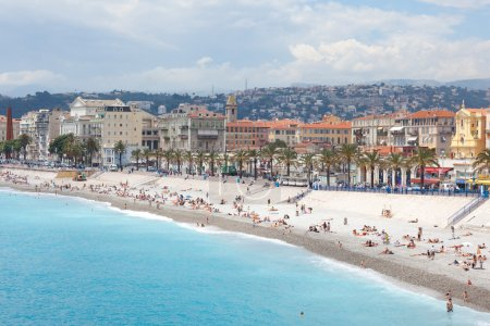 Photo for France, Nice, Blue beach. Hot summer season - Royalty Free Image