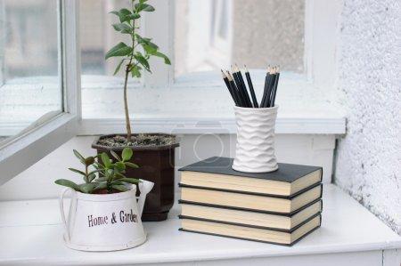 Photo pour Une pile de livres, de fleurs et de crayons dans une véranda blanche confortable - image libre de droit