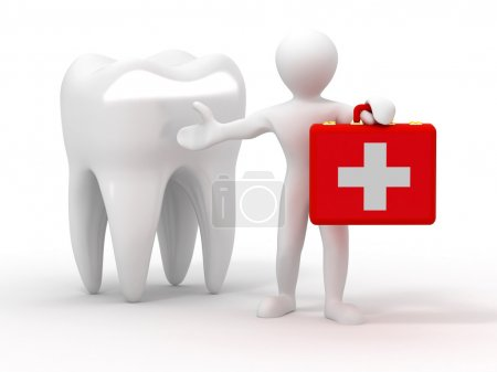 Photo for Men with medical case and tooth. Dentist. 3d - Royalty Free Image