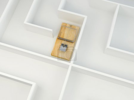Photo for Mousetrap on labyrinth. 3d - Royalty Free Image