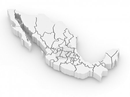 Three-dimensional map of Mexico on white isolated ...