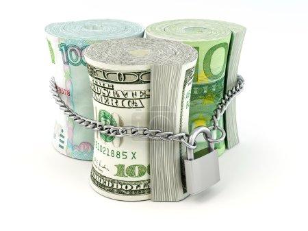 Photo pour Dollar, euro, Rouble sur la serrure. 3D - image libre de droit