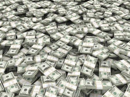 Photo pour La richesse. Contexte à partir de paquets de dollars. 3d - image libre de droit