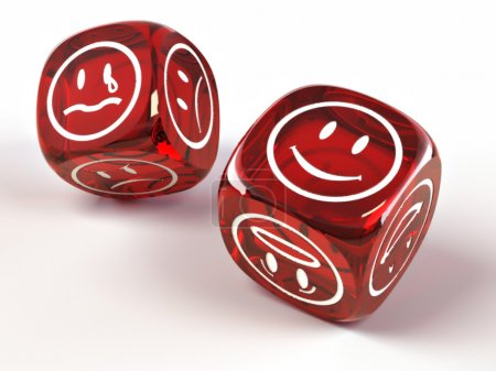 Photo for Dice with different emotions on faces on white isolated background. 3d - Royalty Free Image