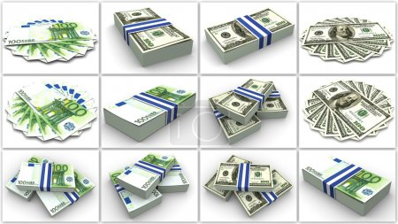 Money. Euro And Dollar. Collage
