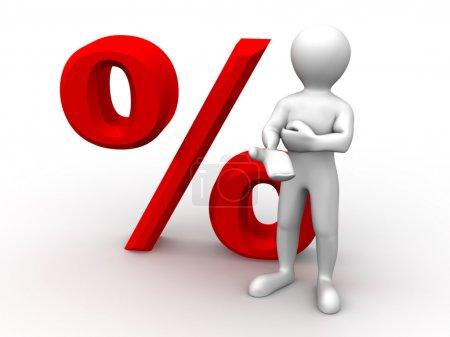 Men with percent. 3d