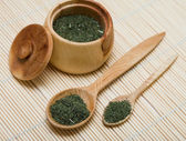 Spice of thyme in spoon and bowl