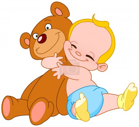 Illustration for Cheerful baby hugging his teddy bear - Royalty Free Image