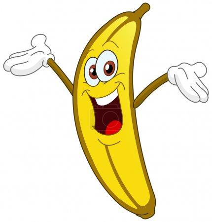Illustration for Cheerful Cartoon banana raising his hand - Royalty Free Image
