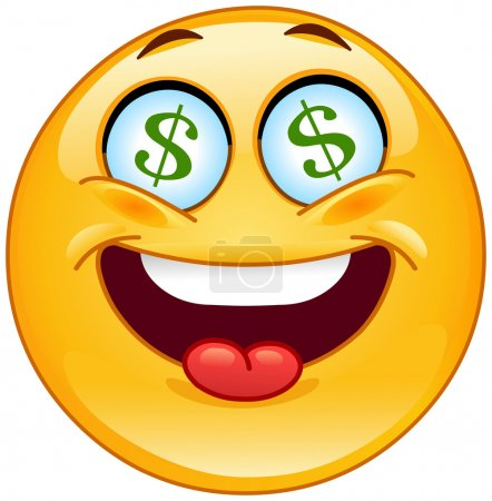 Illustration for Dollar emoticon - Royalty Free Image
