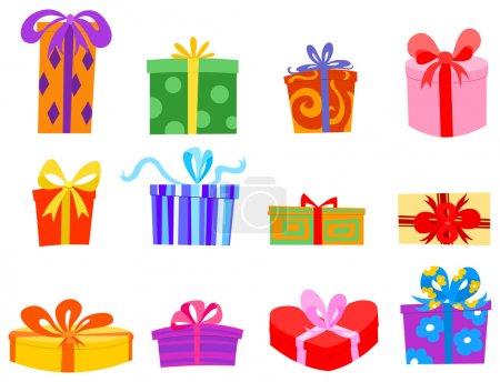 Illustration pour Ensemble cadeau coloré - image libre de droit