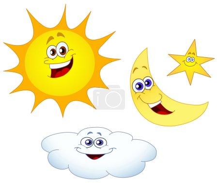 Sun moon star and cloud