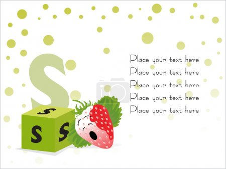 Kid education vector, S for Strawberry