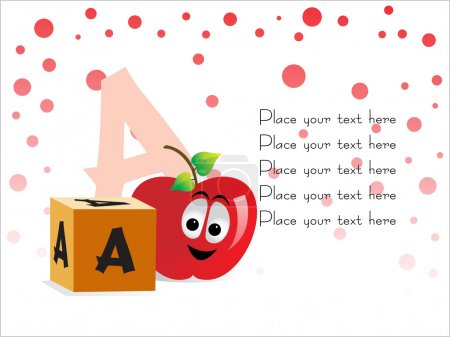 Kid education vector, A for Apple