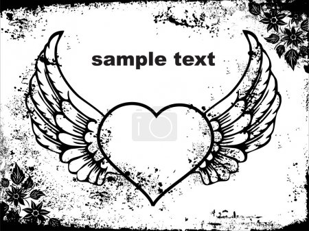Abstract valentine with wings