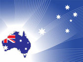 Abstract blue wave star background with australia map