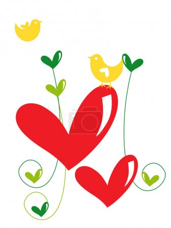 Red heart shape with yellow bird