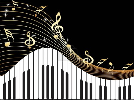 Illustration pour Fond noir avec illustration musicale d'instument et notes - image libre de droit