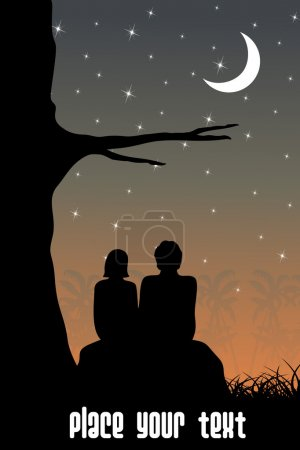 Illustration for Abstract sunset background with couple sitting in garden - Royalty Free Image