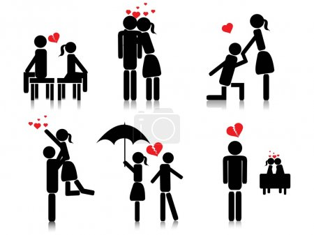 Illustration for Background with romantic couple silhouette, vector image - Royalty Free Image