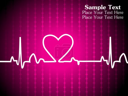 Illustration for Abstract magenta heart beaat background with sample text - Royalty Free Image