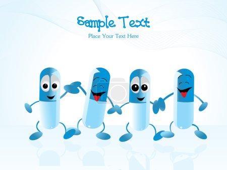 Illustration pour Résumé fond bleu ondulé avec ensemble de capsules - image libre de droit