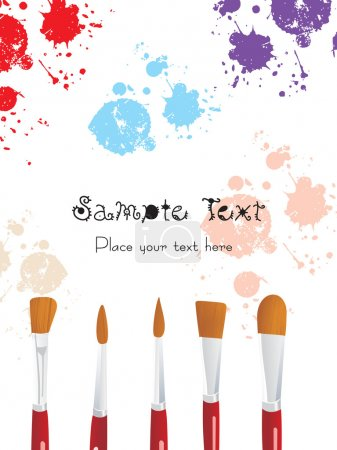Set paintbrush in five different strokes