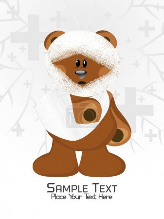 Illustration for Medical background with bear suffering from accident - Royalty Free Image