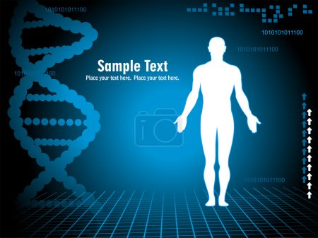 Illustration for Abstract blue dna spiral background with silhouette - Royalty Free Image