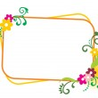 Background with decorated floral frame, vector ill...