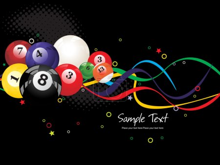 Background with colorful boilliard balls