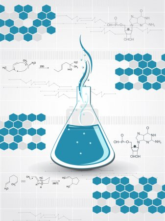 Chemical formula background with laboratory tube