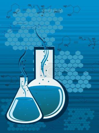 Illustration for Honeycomb background with chemical formula, laboratory flask - Royalty Free Image