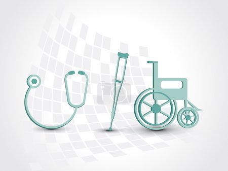 background with armchair, wheelchair and stethoscope