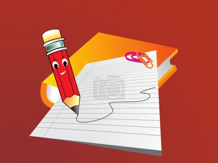 Illustration for Abstract background with note book, paper and pencil - Royalty Free Image