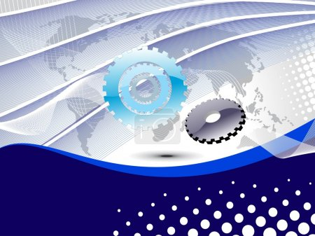 Illustration for Abstract curve wave, map background with mechanical gears - Royalty Free Image