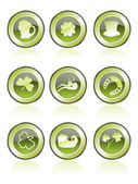 Background with set of 9 glossy icons for patrick day celebration
