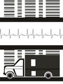 Abstract heartbeat background with isolated ambulance vector illustration